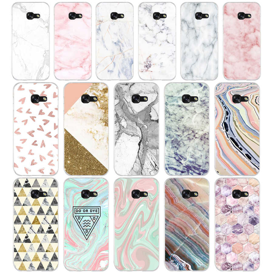 120AQ  pink white blue marble Soft Silicone Tpu Cover phone Case for Samsung galaxy a3 a5 2016  2017 a6 A8 2018