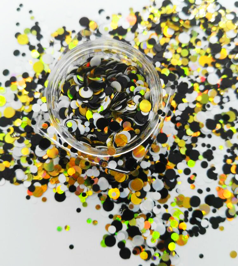 Schönheit & Gesundheit Nagelglitzer 17 Usd/100g Black & White Angelegenheit Gemischt 1/2/3mm Ultra Metallic Glitter Mix Punkte Kreise Für Gel Nail Art & Acryl # Plt-03 #003