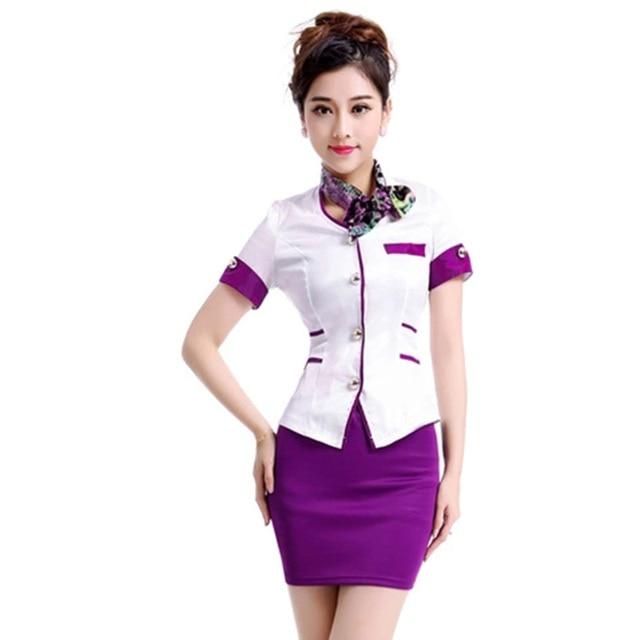 Бесплатная доставка лето формальные фиолетовый женщины работают равномерное сплошной офис юбка костюмы авиакомпания униформа краткое рабочая одежда Большой размер XXL