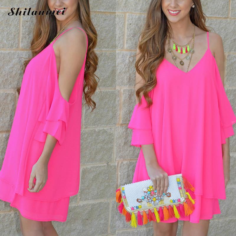 Summer women dresses sexy Off Shoulder Spaghetti Strap dress Ruffles Sleeve deep v Chiffon fuchsia Slip Dress Vestidos de Playa