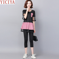 Plus Size 3xl 4xl 5xl Woman Two Piece Set Outfit Set Co ord Set Ruffles Tracksuits for Women 2019 Summer Black Mesh clothing