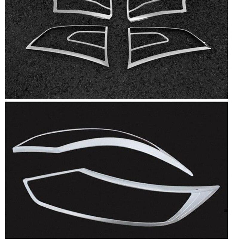 ABS Chrome avant arrière phare couvercle de lampe garniture avant tête lumière couvercle pour 2014-2016 Nissan Qashqai J11 voiture style accessoires