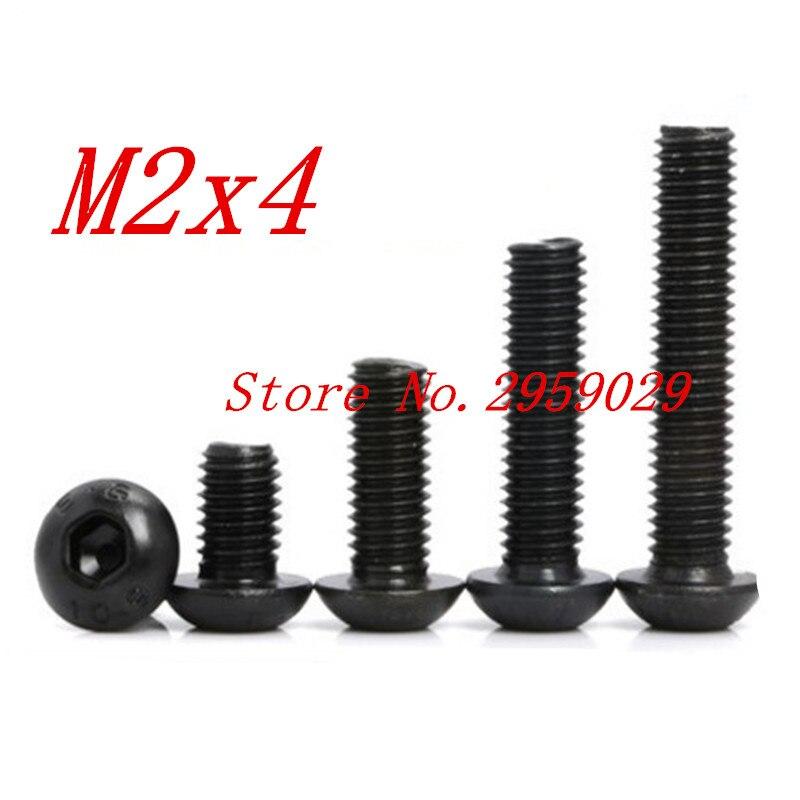 1000PCS ISO7380 m2*4 M2 x 4mm Steel with black hex hexagon socket button head screw 100pcs lot m2 m2 5 m3 iso7380 gb70 2 304 stainless steel a2 round head screws mushroom hexagon socket button head screw