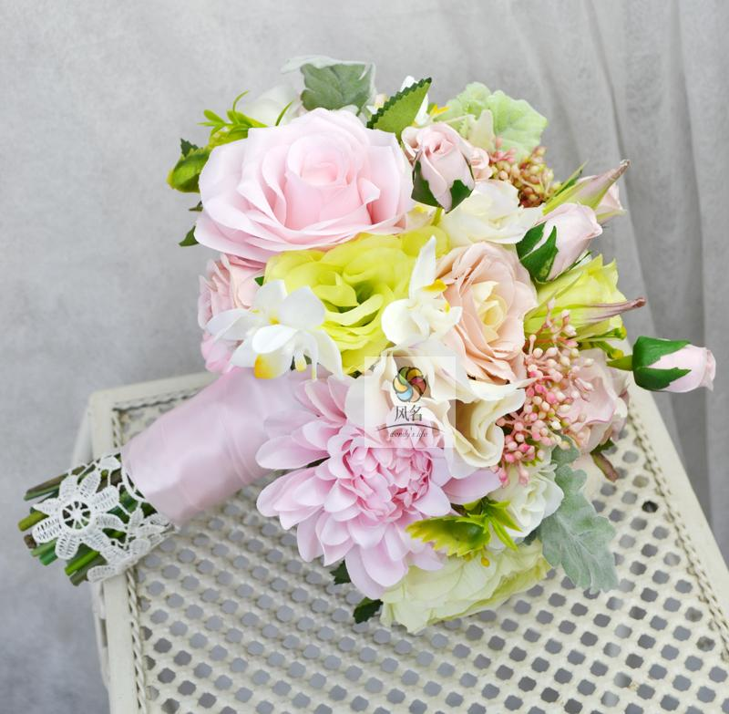 24814a77eb44d Wedding Flower Bouquet Pink Ribbons Bow Hand Tied Silk Flowers ...