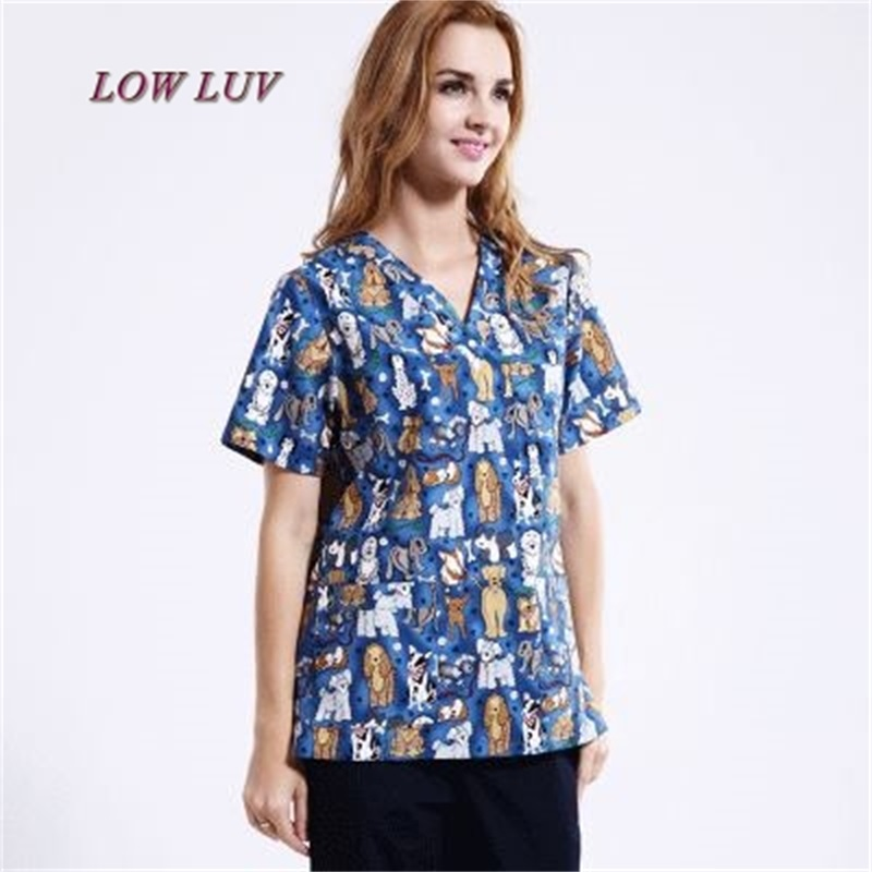 Pet Hospital&Clinic Man&Woman Doctor Scrub Tops Medical Polyester Cotton Printing V-neck Nurse Work Clothes Only shirt