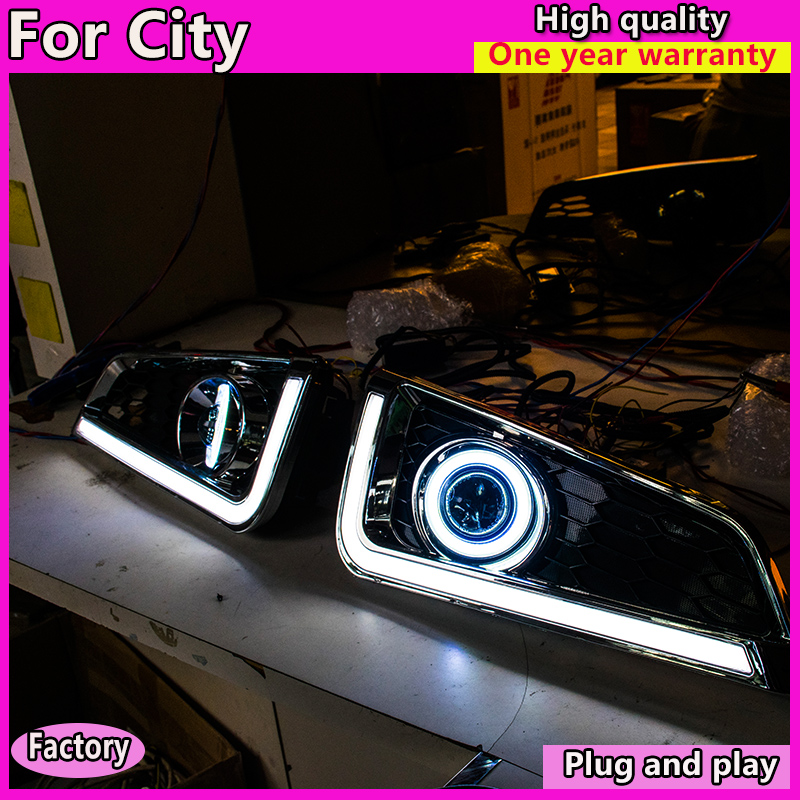 Car Styling <font><b>LED</b></font> Fog Lamp Assembly for <font><b>Honda</b></font> <font><b>city</b></font> 2015-2019 <font><b>LED</b></font> Fog Light Auto <font><b>LED</b></font> Fog Lamp + <font><b>LED</b></font> <font><b>DRL</b></font> image