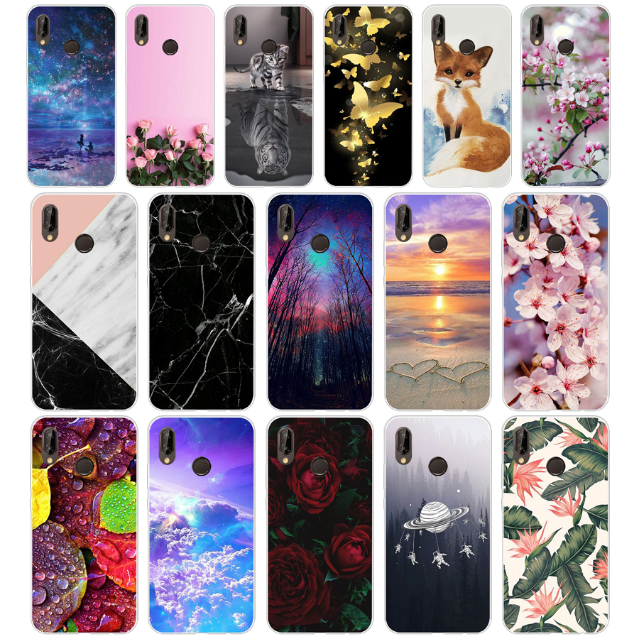 A Huawei P20 Lite Case 5.84inch Huawei P20 Lite Soft Rubber TPU Silicone Back Phone Case For Huawei P20 Lite Cover Bag Cases