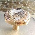 Dresser puxa maçanetas Gaveta do armário knob puxe knos de vidro transparente cristal de diamante ouro prata moda simples moderno punho da mobília
