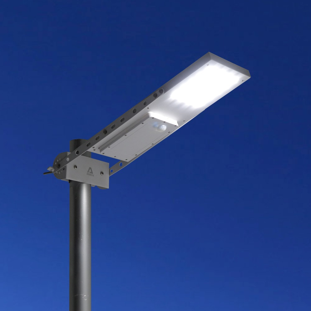 Alpha 1080X Outdoor Waterproof Motion Sensor Solar Powered LED Pole Wall Street Path Light For Garden 3 Working Modes