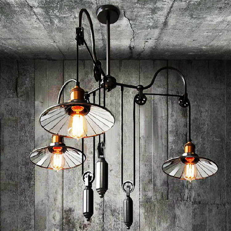Loft vintage Black pendant lights Iron Pulley Lamp Bar E27 Light Fixtures 3 Heads Adjustable Wire Lamps Retractable Bar Lighting