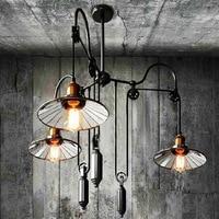 Loft vintage Black pendant lights Iron Pulley Lamp Bar E27 Light Fixtures 3 Heads Adjustable Wire Lamps Retractable Bar Lighting