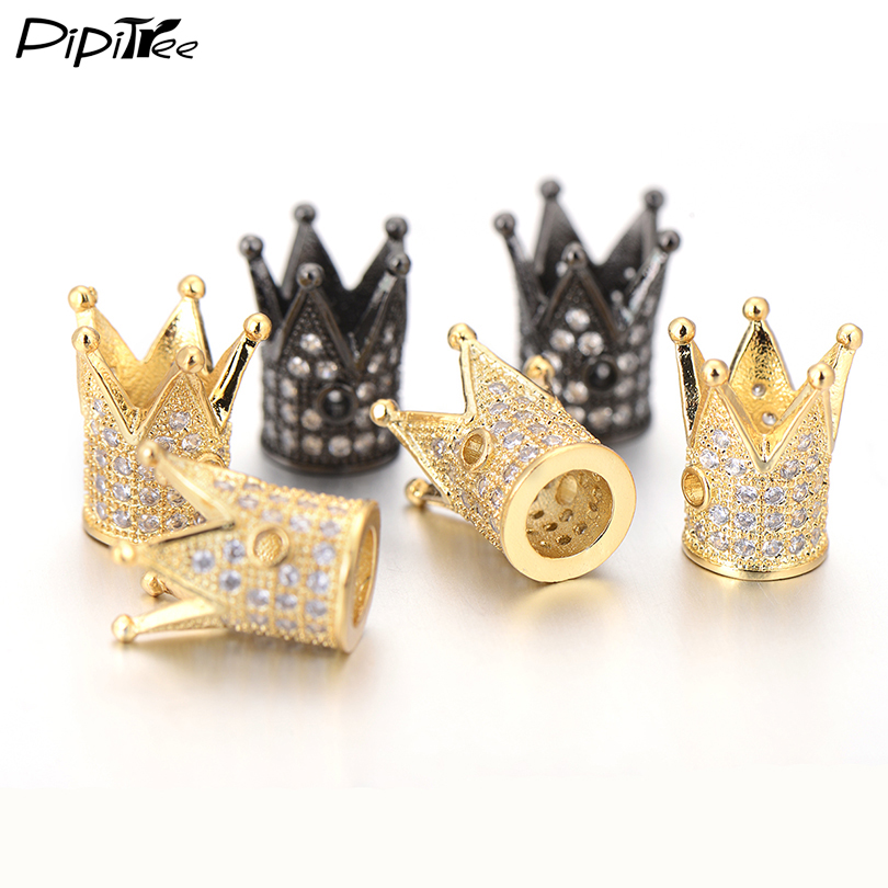 Jewelry & Accessories Wholesale Luxury Micro Pave Cubic Zirconia Crown Beads For Men Bracelet Making Jewelry Charm Rose Gold Color Brass Spacer Bead Beads & Jewelry Making