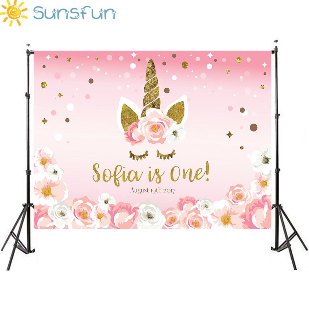 Sunsfun 7x5FT New Photographic Background Beautiful Girl Flower Pink Birthday Unicorn Backdrop Photocall Professional Customize