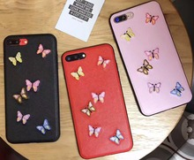 Hot Art Handmade Colorful Butterfly Retro Cell Phone Cases For iphone 6 6s 6Plus 6sPlus 7 7Plus Chic Embroidery Mobile Cover
