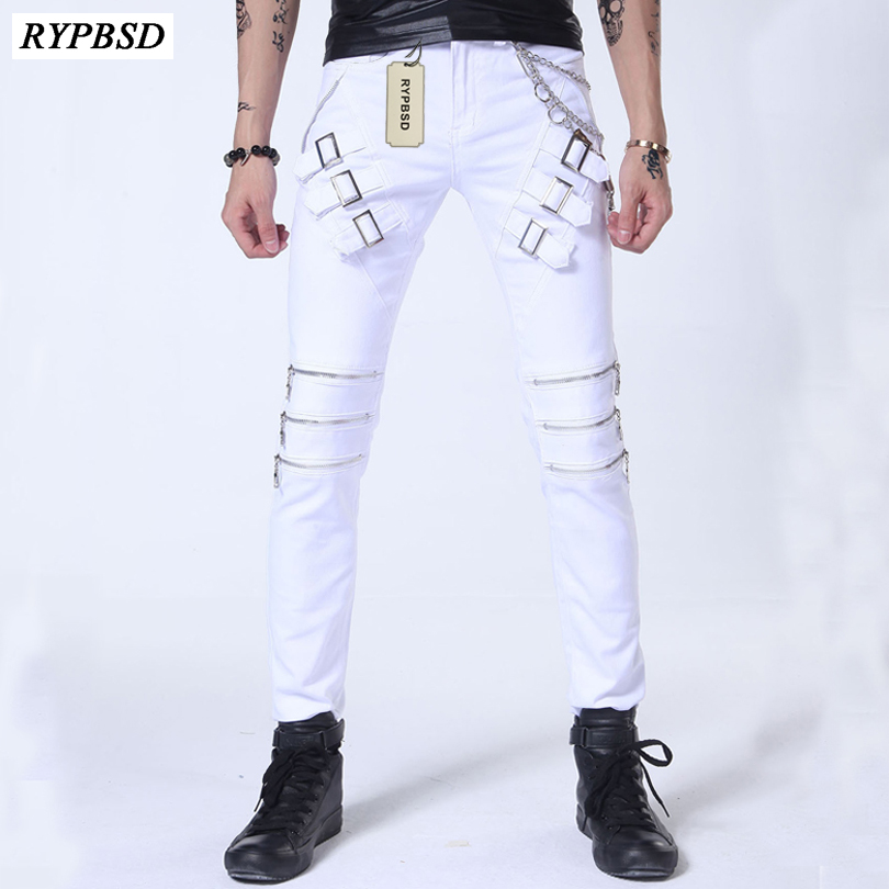 2017 Spring Autumn Luxury Stage Punk Black White Jeans Pants Men Motorcycle Pants Fashion Cool Zipper Design Skinny Trousers Men
