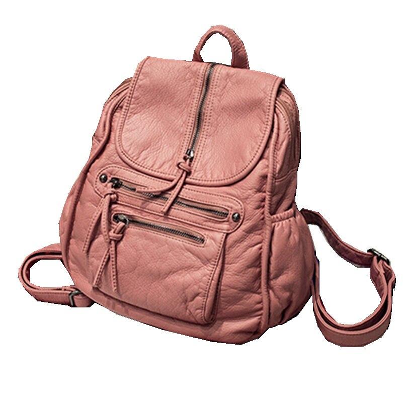 2016 Preppy Style Pink Black PU Leather Backpack Women Shoulder Bag High Quality Bagpack Rucksacks for
