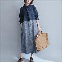 Mùa xuân Mùa Thu Dài Shirt Dress Nữ Dài Tay Áo Vải Lanh Bông Dresses Nữ Chắp Vá Áo Loose Vestidos Robe Quá Khổ A739