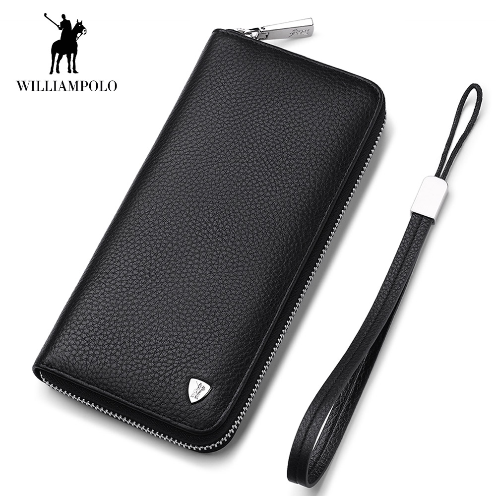 WilliamPOLO 2018 Long Clutch Bag Leather Wallet Men Genuine Leather Luxury Brand Men Zipper Wallets Multi Card Holder Coin Purse williampolo genuine leather men wallet handbag coin pocket phone wallets card holder leather long clutch zipper black brown 80
