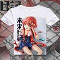 Anime Futuro Mirai Nikki Diário T Shirt dos homens de Manga Curta Gasai Yuno minha esposa T-Shirt dos desenhos animados Pano Traje Cosplay Livre grátis