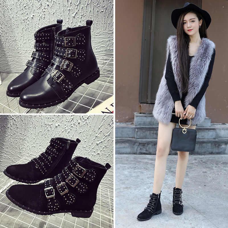 LTARTA Siyah Çivili Deri yarım çizmeler Tokaları Düşük Topuklu Yüksek Kadın Botları Zapatos Mujer Bayan Ayakkabı Boyutu 42 HYKL-6618