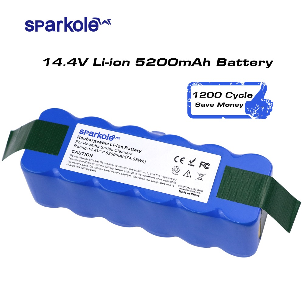 Sparkole 5.2Ah 14.4V Battery Li-ion Battery For Irobot Roomba 500 600 700 800 Series Imported Cells 510 530 620 650 770 780 880(China)