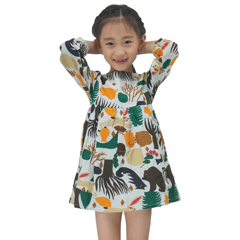 5df4ba3d7af6 Girls Dress 2017 New Autumn England Style Girls Clothes Long Sleeve ...