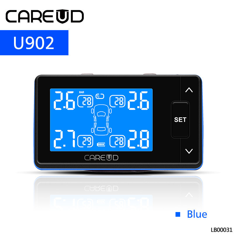 CAREUD U902 Car Tire Pressure Monitoring System Auto Alarm Wireless TPMS 4 External-Internal Sensors Temperature monitor car tpms tire pressure wireless monitoring temperature system psi bar usb alarm 4 external sensors auto tire pressure alarm lcd