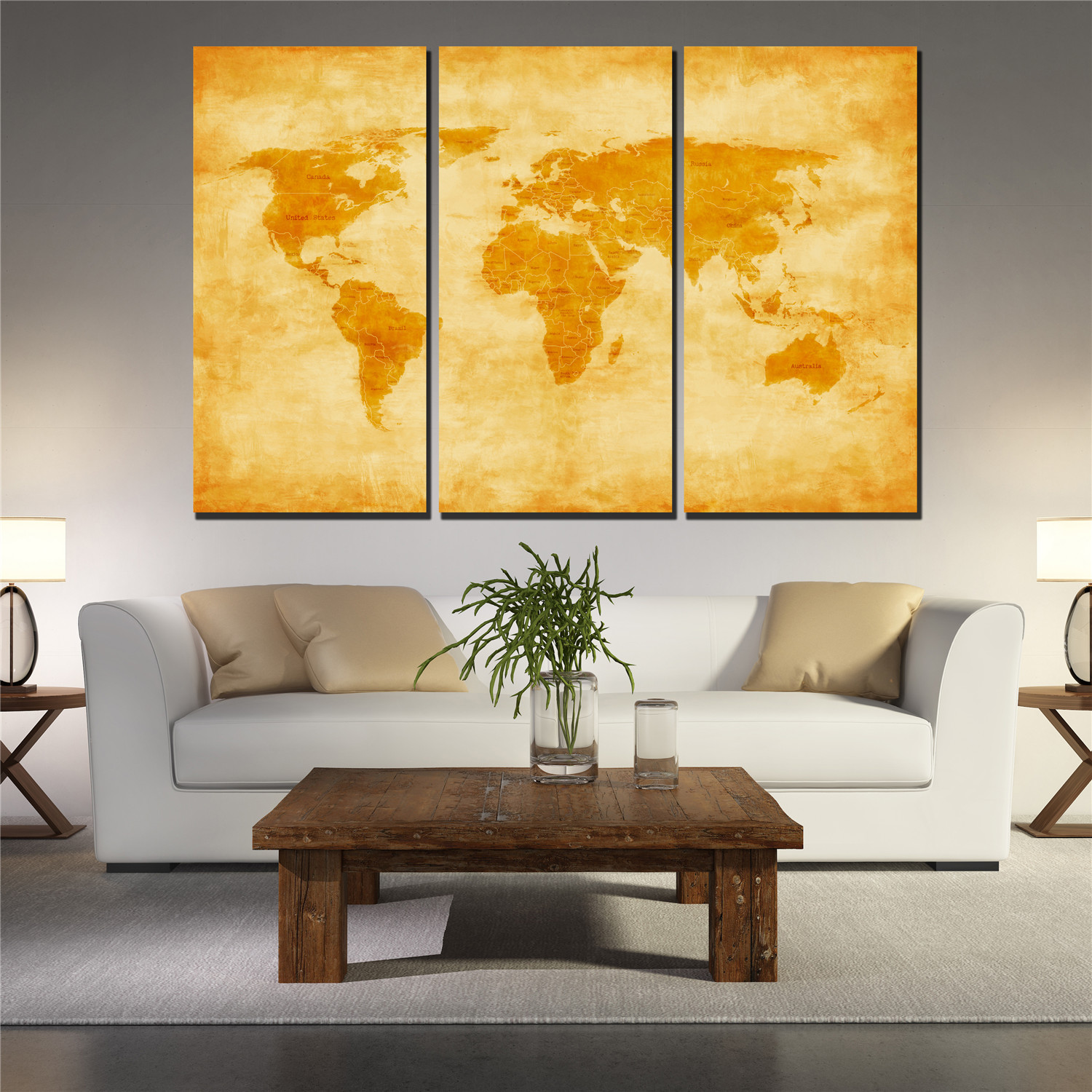 Golden Yellow World Map Poster Canvas Prints Wall Picture