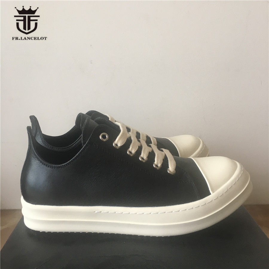 Real Picture Handmade Perfect Shape Flat Sole Lacing Up Genuine Leather Unisex Trainer Outdoor Causal Shoes