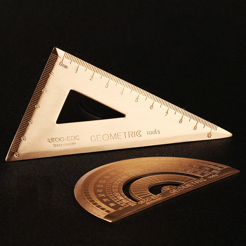 Ruler Brass Triangle Ruler Metal Retro Protractor Semicircle Right Angle Triangle Drawing School Office Copper Ruler