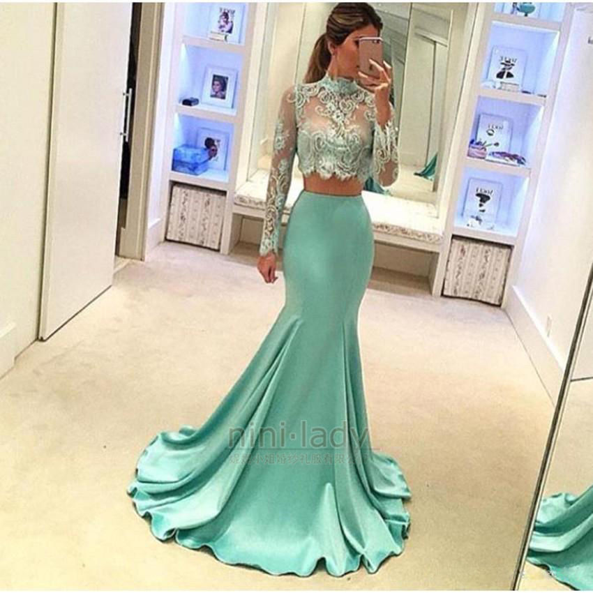 Two Piece Lace Green Long Bridesmaid Dresses