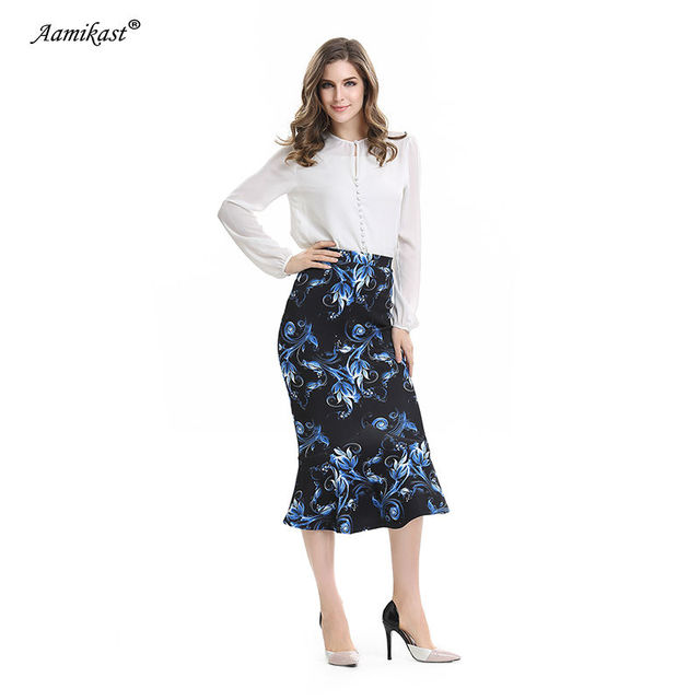 Aamikast Women Trumpet Print Skirt New Fashion 2018 Elegant Vintage Casual  Wear To Work Party Evening Sexy Buttocks Summer d39ae3cf3122