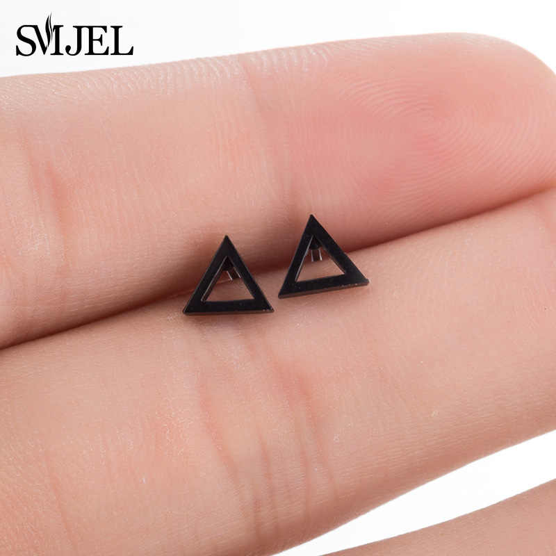 SMJEL Tiny Stainless Steel Earrings Female Black Hollow Triangle Stud Earrings For Women New Punk Geometric Earrings oorbellen