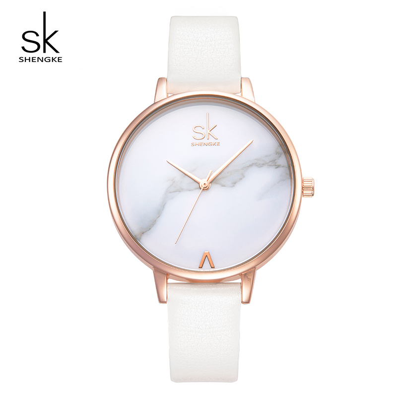 Shengke Creative Women Watches Marble Dial Ladies Leather Wrist Watch Relogio Feminino 2019 SK Luxury Quartz Watch For Women