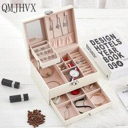 QMJHVX Автоматическая кожаная шкатулка для украшений трехслойная коробка для хранения для женщин серьги кольцо косметический Органайзер шка...