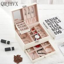 QMJHVX Автоматическая кожаная шкатулка для ювелирных изделий трехслойная коробка для хранения для женщин серьги кольцо косметический Органайзер шкатулка для украшений