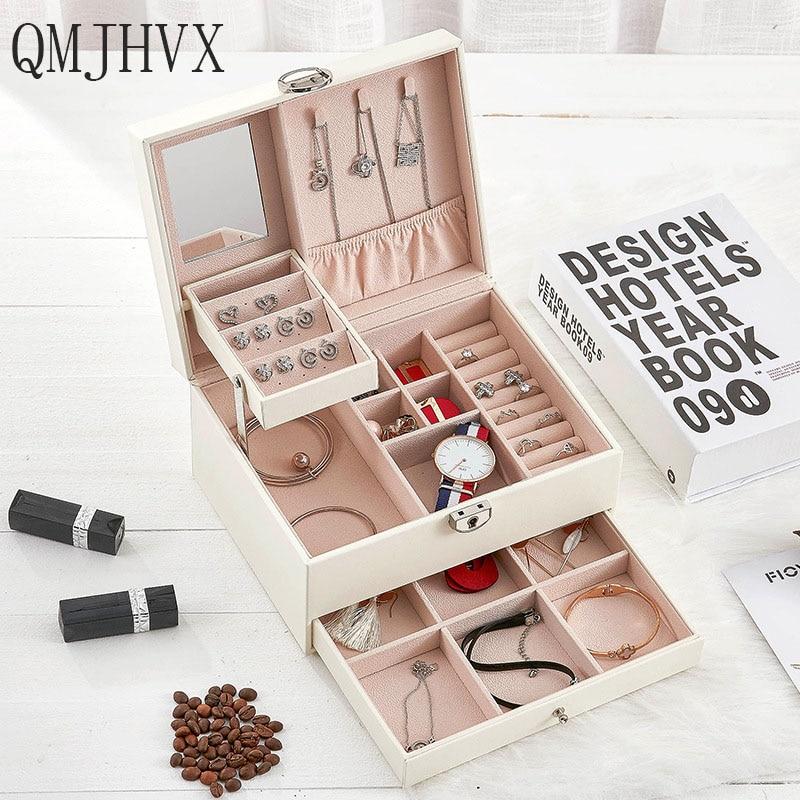 QMJHVX boîte à bijoux en cuir automatique boîte de rangement à trois couches pour les femmes boucle d'oreille anneau cosmétique organisateur cercueil pour les décorations