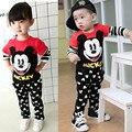 2016 Primavera Rato Bonito Da Criança Das Meninas Dos Meninos Vestuário Set Miúdos Dos Desenhos Animados Impressão da Camisa + Calças Roupas 2 PCS Do Bebê Dos Miúdos Roupas de marca Definida