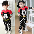 2016 Spring Cute Mouse Toddler Boys Girls Clothing Set Cartoon Kids Print Shirt+Pants Outfits 2PCS Kids Baby Brand Clothes Set
