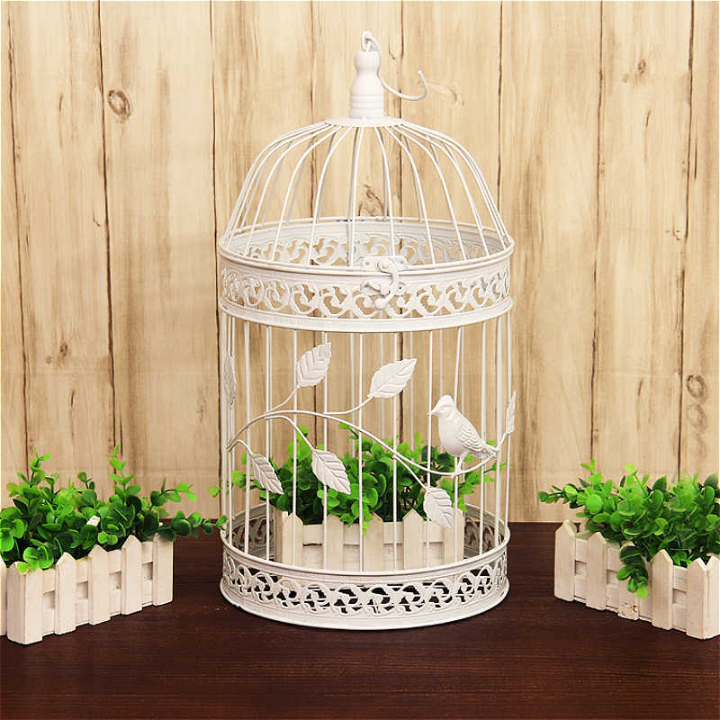 1pcs European iron decorative birdcage wedding window ornaments wedding photography props balcony decoration white birdcage