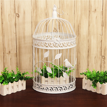 1pcs European iron decorative birdcage wedding window ornaments photography props balcony decoration white