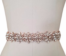 Accesorios de cuentas de cristal recortado para vestido de boda, accesorios para el cinturón de novia, accesorios para la cabeza, diamantes de imitación, Plata/oro rosa, 1 yarda
