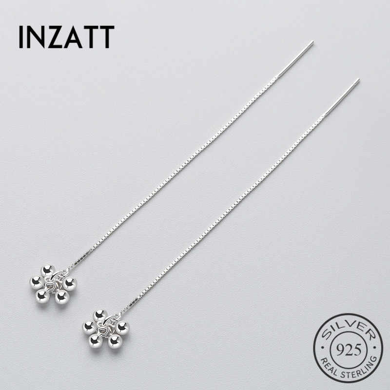 INZATT Tassel Line Chain Light beads Dangle Drop Earrings  For Trendy Women 925 Sterling Silver Accessories Fine Jewelry Gifts