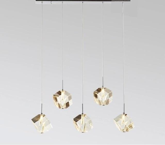 5 Heads Lamps Glass Led Rock Pendant Lights Crystal Lamp Droplight  Dining Room Living Bedroom