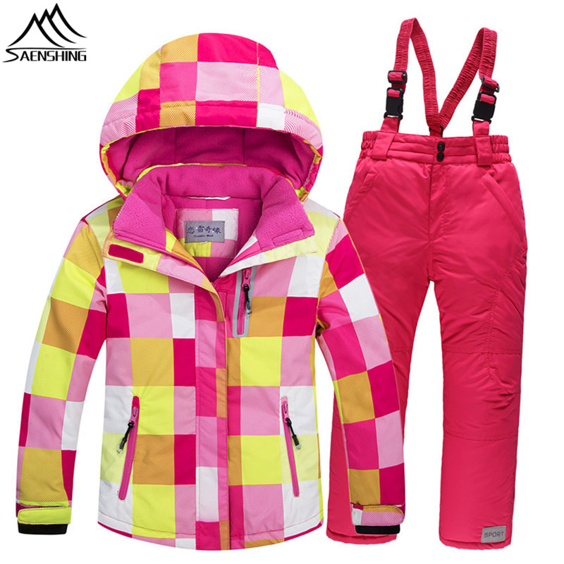 SAENSHING Ski Suit For Girls Boys Super Warm Waterproof Windproof Winter Suit Kids Outdoor Ski Jacket Snowboard Sets Children 2015 new arrive super league christmas outfit pajamas for boys kids children suit st 004