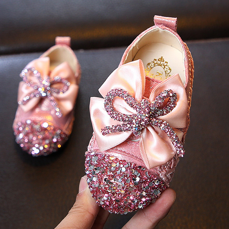 ULKNN New Girls Leather Shoes Round Head Baby Square Mouth Shoes Girls Sweet Soft Bottom Flowers Princess Shoes