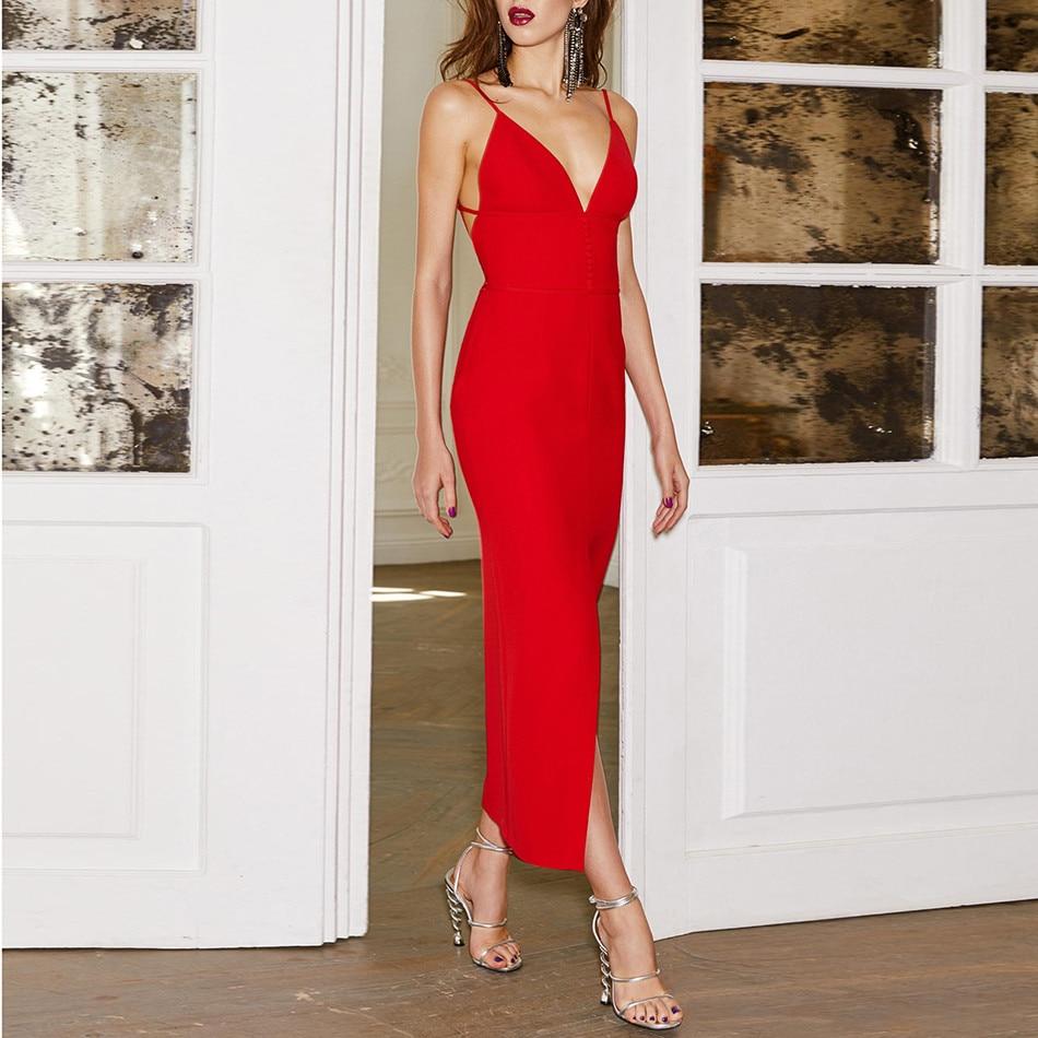 Summer Bandage Dress Celebrity Party Spaghetti Strap V Neck Sexy Club Night Out Dress Women Vestidos