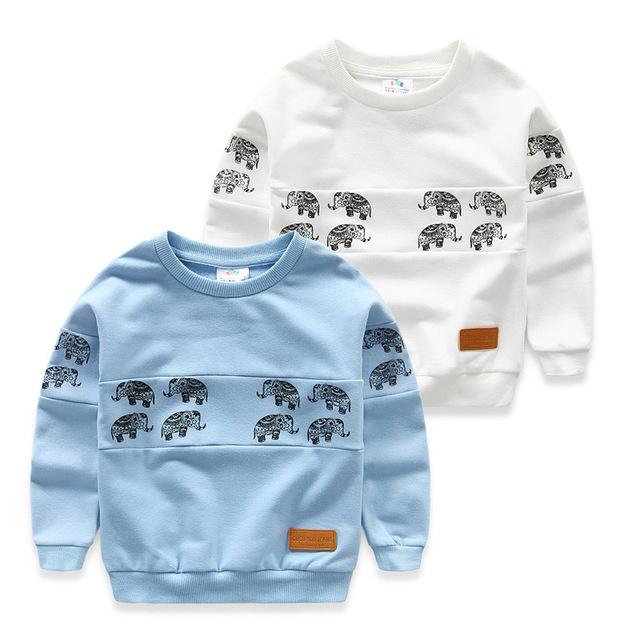 Bebé elefante sudadera 2017 primavera niños de la camiseta muchachos de la ropa del o-cuello de la Camiseta 3-10 T