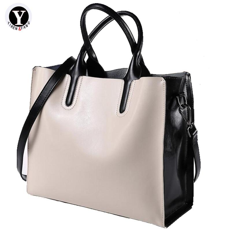 Yirenfang Genuine Leather Bags For Women Messenger Bags Splice Big Bucket Fashion Luxury Handbags Women Bags Designer Crossbody