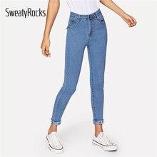 5bb0bd61db SweatyRocks de Roll-Up vaqueros Skinny Streetwear alta cintura azul de las  mujeres 2019 Jeans primavera Casual punta deshilachad.